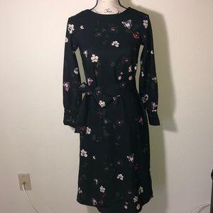 H&M black floral midi dress